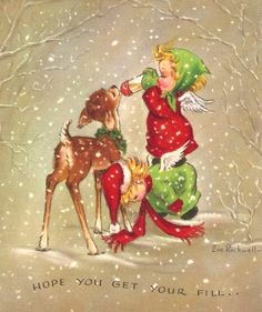 Angels Feeding a Baby Deer Vintage Christmas Card