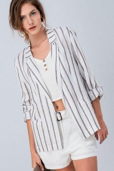 This jacket is a perfect addition to your wardrobe! Relaxed vibe with a mocha stripe and rolled sleeves. Pairs so well with pants, skirts, shorts. Striped Blazer Outfit, Blazer Outfits, Striped Linen, Blazers, Short Dresses, Ootd, Dreams, French, Stitch