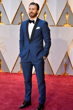 Wedding Suits 2017 academy awards chris evans blue tuxedo with black lapel and black bow tie with white dress shirt and white pocket square - Groom Tuxedo, Tuxedo For Men, Camo Tuxedo, Female Tuxedo, Girl Tuxedo, Purple Tuxedo, Tuxedo Cake, Tuxedo Pants, White Tuxedo