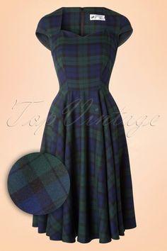 Bunny Dolaree Tartan Blue Green Swing Dress