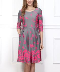 Love this Gray & Fuchsia Floral Fit & Flare Pocket Dress by Reborn Collection on #zulily! #zulilyfinds