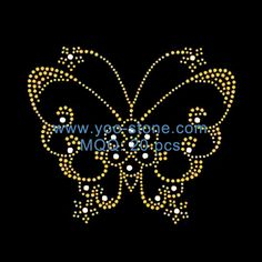 Butterfly Hot Fix Motif Iron On Rhinestone Transfer For Ladies