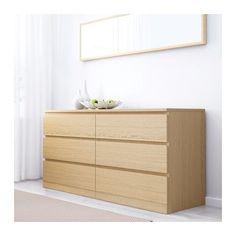 MALM 6-drawer dresser - white stained oak veneer - IKEA