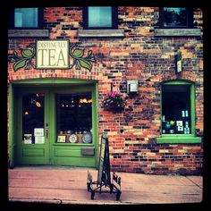A tea speciality shop in Stratford Ontario. I loved the green contrast Stratford Ontario, Stratford Festival, Shakespeare Theatre, My Cup Of Tea, Store Fronts, The Places Youll Go, Contrast, Canada, Display