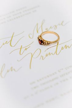 735469aee Rebecca ring - 18ct Yellow Gold claw set garnet ethical engagement ring. On  bespoke caligraphy