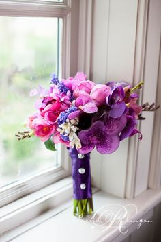 purple pink wedding bouquet