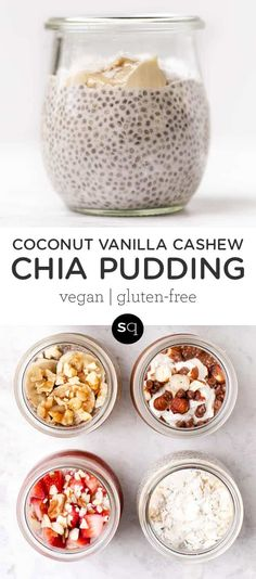 How to make Coconut Vanilla Cashew Chia Pudding! This quick and easy breakfast recipe is packed with protein, filling and delicious! Only takes 5 minutes of prep and then leave in the refrigerator overnight to enjoy a gluten-free and vegan breakfast. Quick Healthy Meals, Healthy Food Choices, Good Healthy Recipes, Healthy Breakfast Recipes, Healthy Cooking, Vegan Breakfast, Vegetarian Recipes, Cooking Recipes, Free Recipes