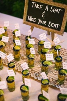 Take a shot and take your seat Love this idea!