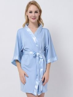 Light Blue Jersey Stretchy Robes With Satin Trim Cheap Bridesmaid Robes Maternity Robe Modal Bride Robe Bridesmaid Pyjamas, Bridesmaid Robes, Nightwear, Light Blue, Satin, Fabric, Pajamas, How To Wear, Summer