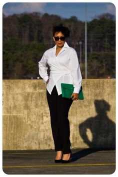 Erica B's wrap top made from Mood's cotton shirting. #moodfabrics