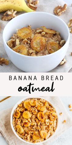Gluten-free, vegan banana bread oatmeal that tastes like the real deal. Get fancy (ok not that fancy, they're super simple) and add some caramelized bananas and toasted walnuts on top for a delicious breakfast! Healthy Banana Bread, Easy Healthy Breakfast, Vegan Breakfast Recipes, Gourmet Breakfast, Quick Breakfast Ideas, High Protein Vegan Breakfast, Healthy Breakfast Recipes For Weight Loss, Healthy French Toast, 21 Day Fix Breakfast