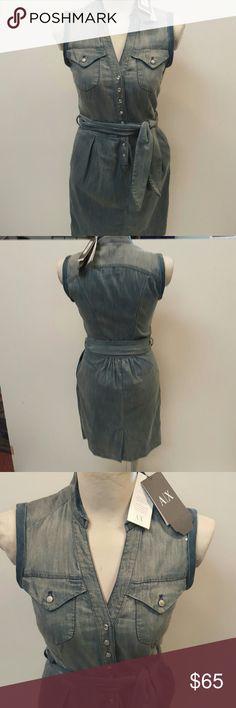 "Armani Exchange Dress NWT Stretch Denim Shirt Dress 98% Cotton 2% Spandex  Machine Wash 34"" Shoulder to hem Armani Exchange Dresses Midi"