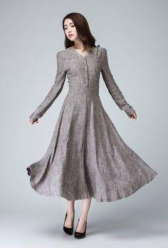 Linen Dress Spring Fashion Dress Long Sleeves Dress by xiaolizi