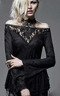 Punk Rave Gothic Serafima TopStunning Gothic top from Punk Rave. Featuring a delicate lace off shoulder neckline and hem, this long sleeve top is a must have! As well as the beautiful lace neck, this Gothic...