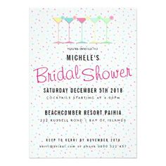 Cocktail Party Bridal Shower Card - invitations custom unique diy personalize occasions
