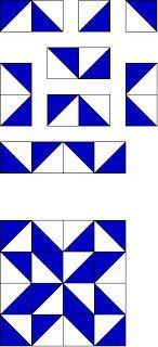 """HAPPY FATHER""""S DAY ! !  And a Quilt Block PATTERN ! Triangle practice with this blockMy triangle tutorial    Cut 8 Blue – 3 7/8"""" x 3 7/8""""Cut 8 White - 3 7/8"""" x 3 7/8""""Make Triangles  Sew as shown"""