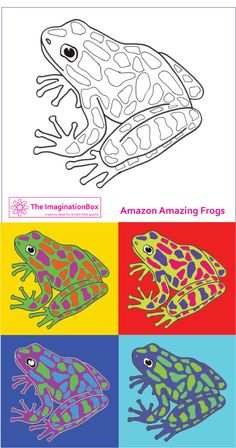 Ribbit ribbit! 'Amazing Amazon Frogs' Andy Warhol style - Create your own new species, free template