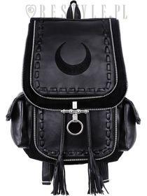"""""""CRESCENT BLACK BACKPACK"""" Czarny plecak do szkoły z kieszeniami, torba z księżycem"""