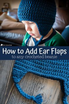 Learn how to add ear flaps to any crocheted beanie of any size! We'll learn where to place ear flaps on a crochet hat using our handy ear flaps size chart. beanie with earflaps How to Add Ear Flaps to a Crochet Beanie Easy Crochet Hat, Crochet Kids Hats, Crochet Beanie Pattern, Crochet For Boys, Crochet Hat Earflap, Crochet Hat Sizing, Crocheted Hats, Crochet Patterns, Double Crochet Decrease