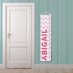 Modern Pink Chevron Personalized Growth Chart by BirdRowPrints