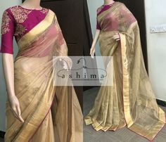 Embroidered Tissue Saree With Embroidered Blouse Simple Sarees, Trendy Sarees, Fancy Sarees, Saree Blouse Patterns, Saree Blouse Designs, My Collection, Saree Collection, Onam Saree, Half Saree Designs