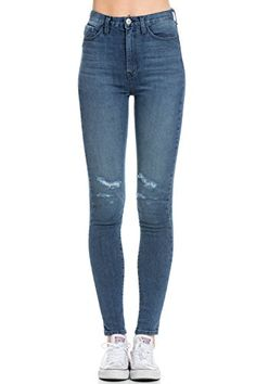 1dfacab9de710 Womens Classic High Waisted Skinny Distressed Denim Jeans Denim Size 28     You can find out more details at the link of the image.