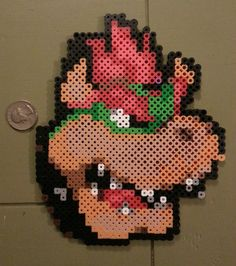 King Koopa/Bowser Mario character perler bead sprite portrait by BeadyFusions