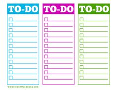 Printable to do lists http://100simplebooks.com/free-printable-to-do-list/
