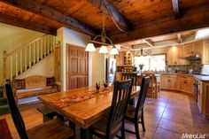 481  Meadowbrook Rd,  Garden Valley, CA  95633.  Amazing custom kitchen with rustic beams, granite, stainless and  tile floors.