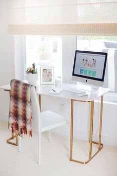 Marble and gold desk