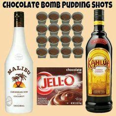 Chocolate pudding bomb shots