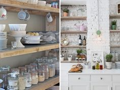 How to Style Open Kitchen Shelves...seriously dying...those rustic wood shelves and that painted brick!