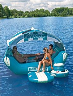 The Cabana Islander Lounge assures you and your friends a fun and relaxing summer. With room for 6 and tons of features, this one-of-a-kind inflatable is perfect for entertaining on and off the water.  Want!!