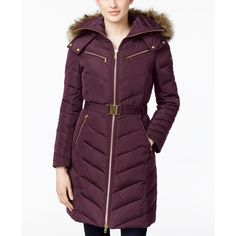 Michael Michael Kors Faux-Fur-Trim Hooded Chevron Belted Down Coat ($330) ❤ liked on Polyvore featuring outerwear, coats, bordeaux, belted down coat, michael kors, dkny hooded faux-fur-trim parka coat, purple coat and down coat