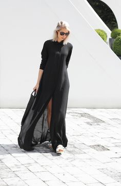 SheIn offers Black Chiffon Maxi Shirt Dress & more to fit your fashionable needs. Maxi Shirt Dress, Mode Inspiration, Wedding Inspiration, Minimalist Fashion, Love Fashion, Elegance Fashion, Net Fashion, Dress Fashion, Street Fashion