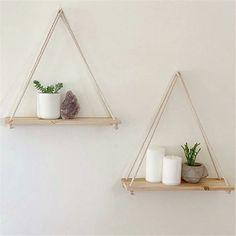 Diy Hanging Shelves, Plant Shelves, Wall Mounted Shelves, Shelves In Bedroom, Shelves With Plants, Wall Shelves Design, Small Shelves, Shelving Decor, Home Decor Shelves
