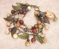 leaves and beads fall cluster bracelet