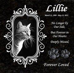 Black Granite Pet Memorial  Laser Engraved  by AllVickiesVisions