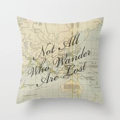 Not All Who Wander Are Lost on Vintage Map of the World Throw Pillow Cover. ♥ Made from 100% spun polyester poplin fabric. ♥ Individually cut and sewn by