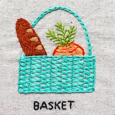 shopping basket hand embroidery _ basket stitch tutorial Hand Embroidery Projects, Embroidery Stitches, Chicken Recepies, Italian Table, Beautiful Hands, Straw Bag, Basket, Shopping, Needlepoint