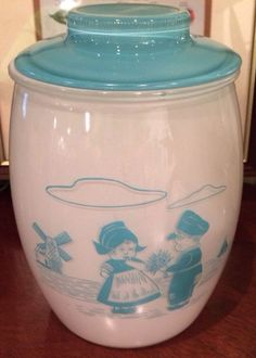 Vintage Fire King Cookie Jar Dutch Boy And Girl Blue With Lid
