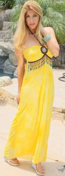COWGIRL GYPSY DRESS Yellow Chiffon Empire Waist with Beaded Fringe & Medallion Accent Western Maxi Dress