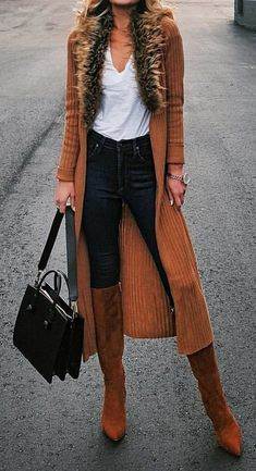 #winter #outfits white V-neck top, black jeans, and pair of brown heeled boots