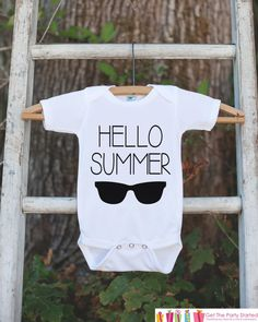 Hello Summer Onepiece or Tshirt - Summer Outfit For Kids, Infants - Summer Onepiece or Shirt, Baby, Youth, Toddler - Summer Sunglasses