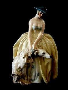 Ceramic lady with borzoi - by Guido Cacciapuoti, who was an Italian visual artist - 1892.- 1953