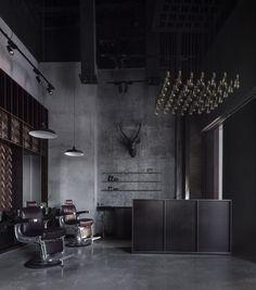 Videos and Images-Dubai BarberShop - Haircuts, Beard~Trims at Bespoke Male Grooming Salon Modern Barber Shop, Best Barber Shop, Barber Shop Interior, Barber Shop Decor, Hair Salon Interior, Salon Interior Design, Salon Design, Interior Design Images, Barbershop Design