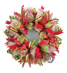 Deco Mesh Christmas Wreath in Lime Green & Red with Poinsettias, Christmas Door Wreath, Holiday Wreaths, Wreaths for Christmas
