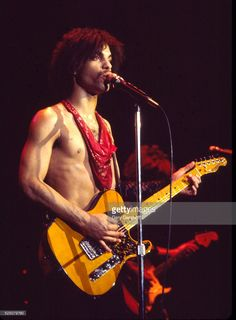 American musician Prince (1958 - 2016) plays guitar as he performs onstage at the Ritz during his 'Dirty Mind' tour, New York, New York, March 22, 1981.