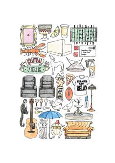 FRIENDS TV Show Minimal Art Print / Colour Black and White Line Drawing Poster Quote Watercolour Sofa Central Perk NYC Guitar Smelly Cat – Desing (graphics & photoshop)