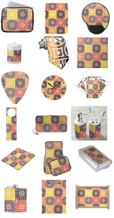 Abstract orange, yellow, brown geometric tile pattern custom gifts! Lots of personalized products! #personalizedgifts #colorful #geometric